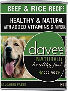 Dave'S Pet Food Beef And Rice Food (12 Cans Per Case), 13.2 Oz.