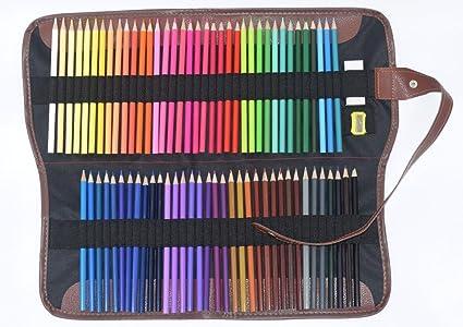 72 lápices de colores variados con sacapuntas, goma de borrar y estuche: Amazon.es: Oficina y papelería