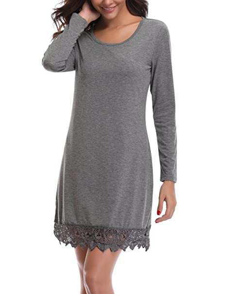 525634bf837 MISS MOLY Women s Knitted Long Sleeve Casual Lace Stitching Tunic Tops  Swing Dress