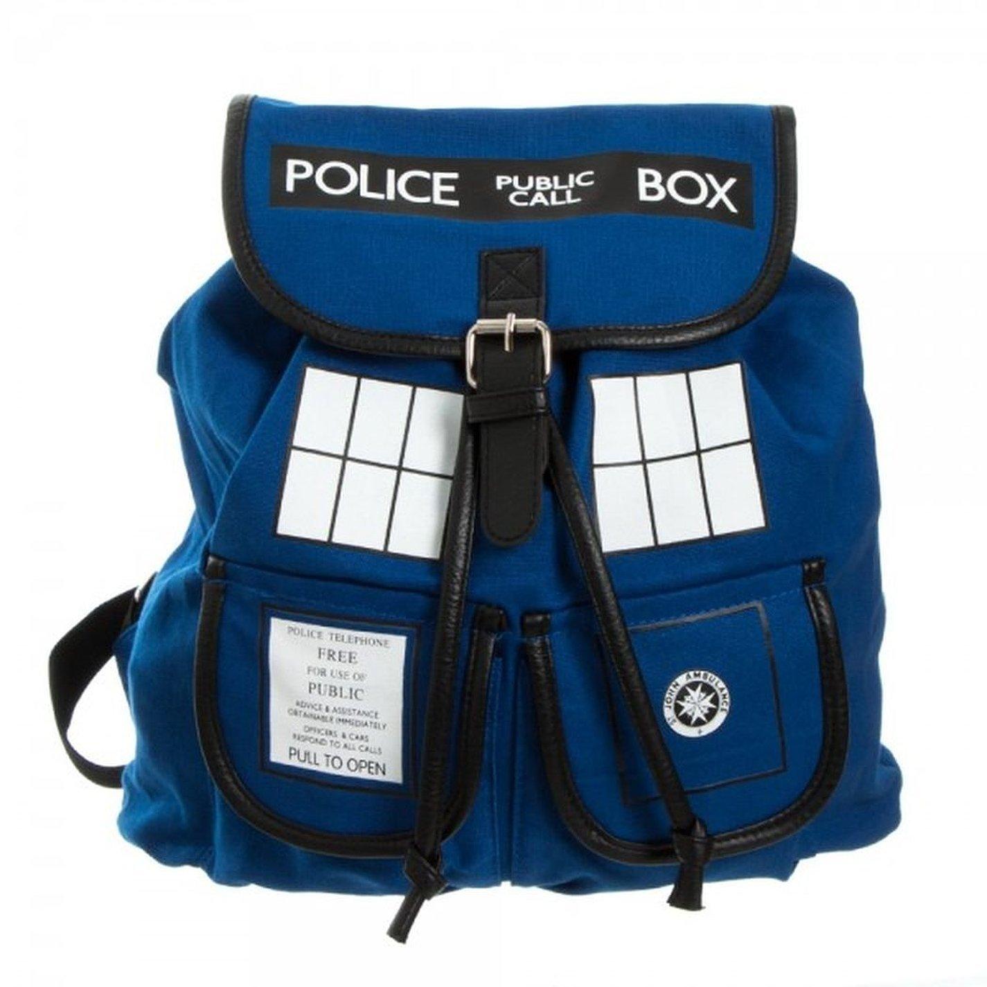 Doctor Who school supplies TARDIS Police Box Blue KNAPSACK