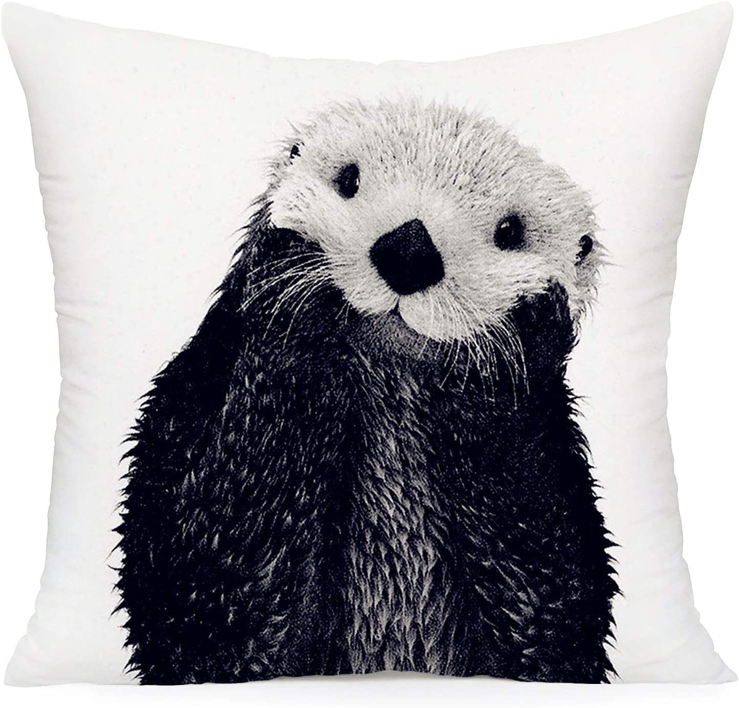 Smilyard Otter Throw Pillow Covers Super Soft Decorative Pillow Covers Animal Cushion Cover for Home Sofa Bedroom Decor 18X18 Inch (Black Otter)