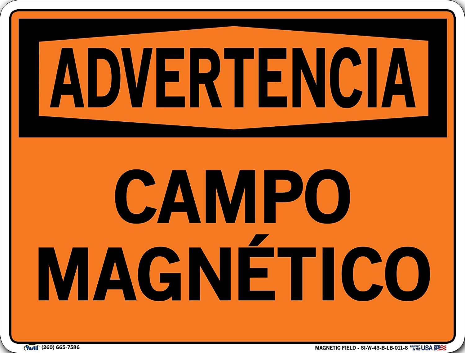 0.011 Overall Size Vestil SI-W-43-C-LB-011-S MAGNETIC FIELD//CAMPO MAGN/ÉTICO Warning Label Vinyl 14.5 W x 10.5 H