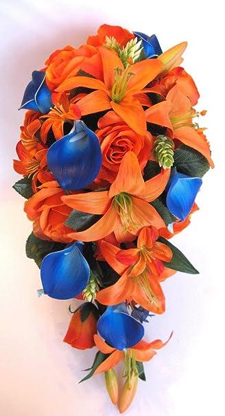 Amazon.com: Wedding bouquets Bridal Silk Flowers ORANGE ROYAL Blue ...