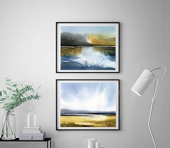 Amazon Com Abstract Landscape Art Print Set 2 Fine Art