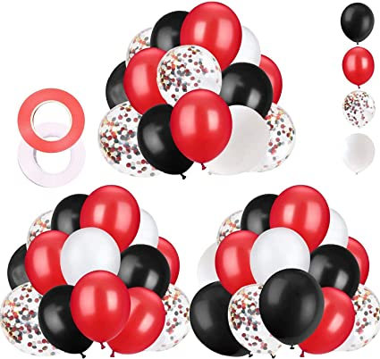 Amazon Com 62 Pieces Black Red Confetti Balloons Kit 12 Inches White With Balloon Ribbon For Baby Shower Birthday Quinceanera Graduation Party Decorations Supplies Toys Games