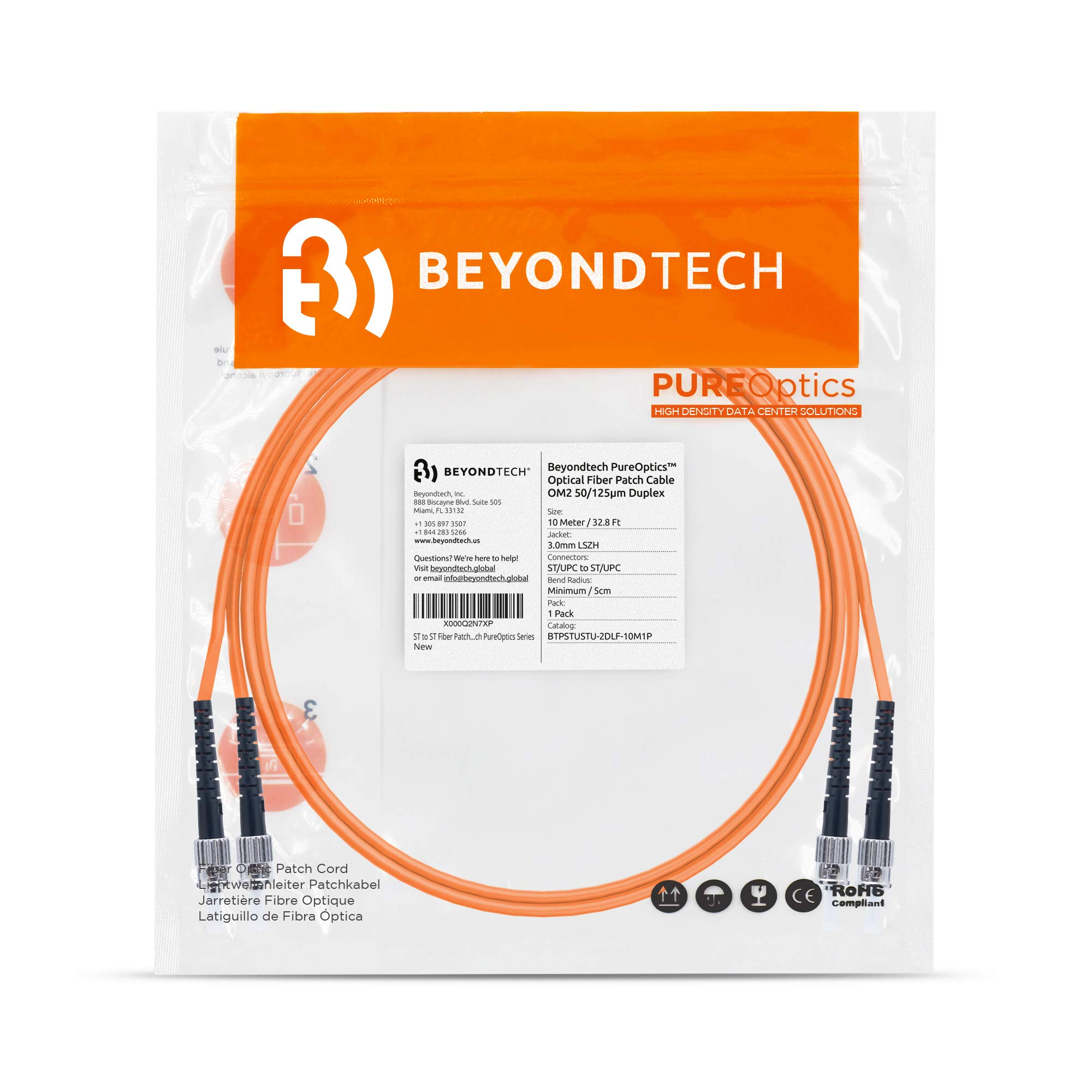 FC to FC Fiber Patch Cable Multimode Duplex 5m 16.4ft Beyondtech PureOptics Cable Series - 50//125um OM2