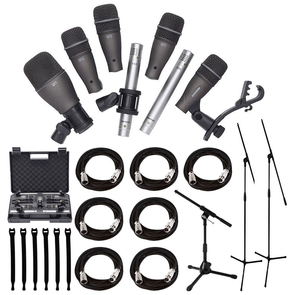 Samson DK707 7-Piece Drum Microphone Kit + Tripod Base Mic Boom Stand + Ultimate Low-Level Tripod Mic Stand + 7 XLR Mic Cables 20 ft.+ Strapeez, Black - Ultimate Accessory Bundle by Samson Technologies