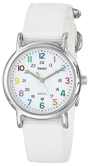 Timex Weekender - Reloj analógico de cuarzo para mujer con correa de nylon, color blanco: Timex: Amazon.es: Relojes