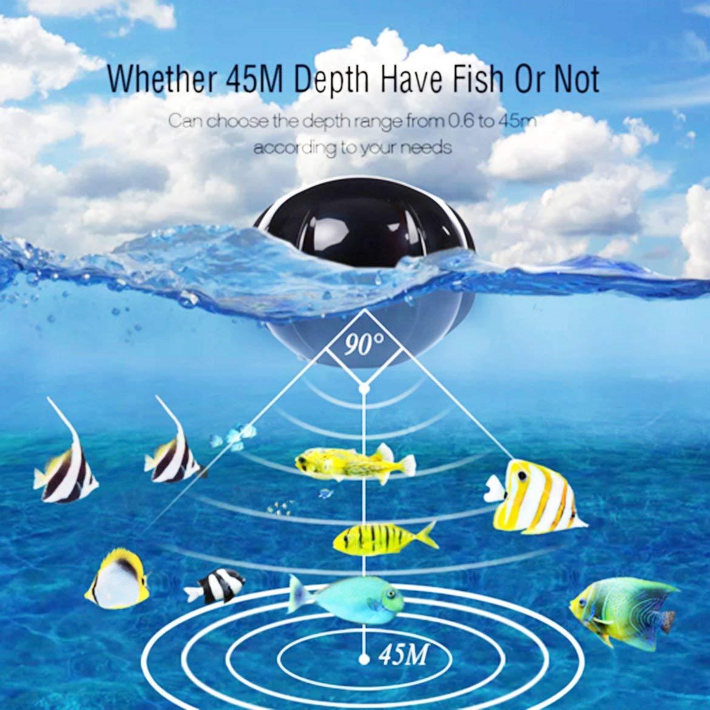 Harlls TL98E Smart Portable sans Fil Fish Finder P/êche Sonar Echo Sondeur Alarme sous-Marine Transducteur LCD R/étro-/Éclairage de P/êche Sattaquer Rouge Noir
