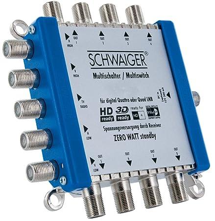 SCHWAIGER -5200- Multischalter 5 -> 8 / Verteilt 1 SAT-Signal auf 8 Teilnehmer/SAT-Verteiler/SAT-Splitter mit externem Netzte