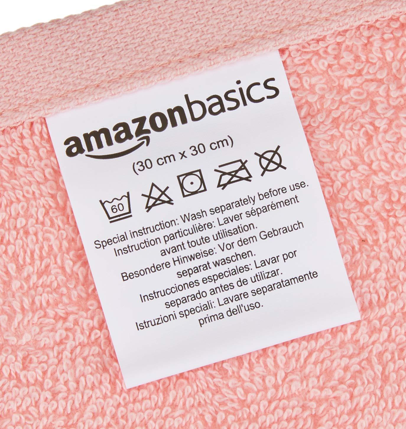 AmazonBasics - Toallas de algodón, 12 unidades, Rosa pétalo, Lavanda, Blanco: Amazon.es: Hogar