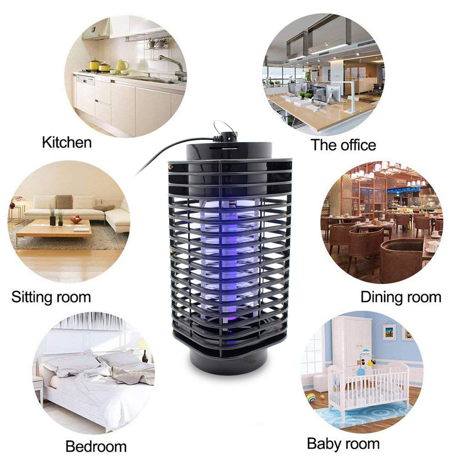 fomei Bug Zapper Mosquito Killer Insect Trap Pest Control Light Electronic UV Lamp for Indoor Outdoor Bedroom Kitchen Home Office