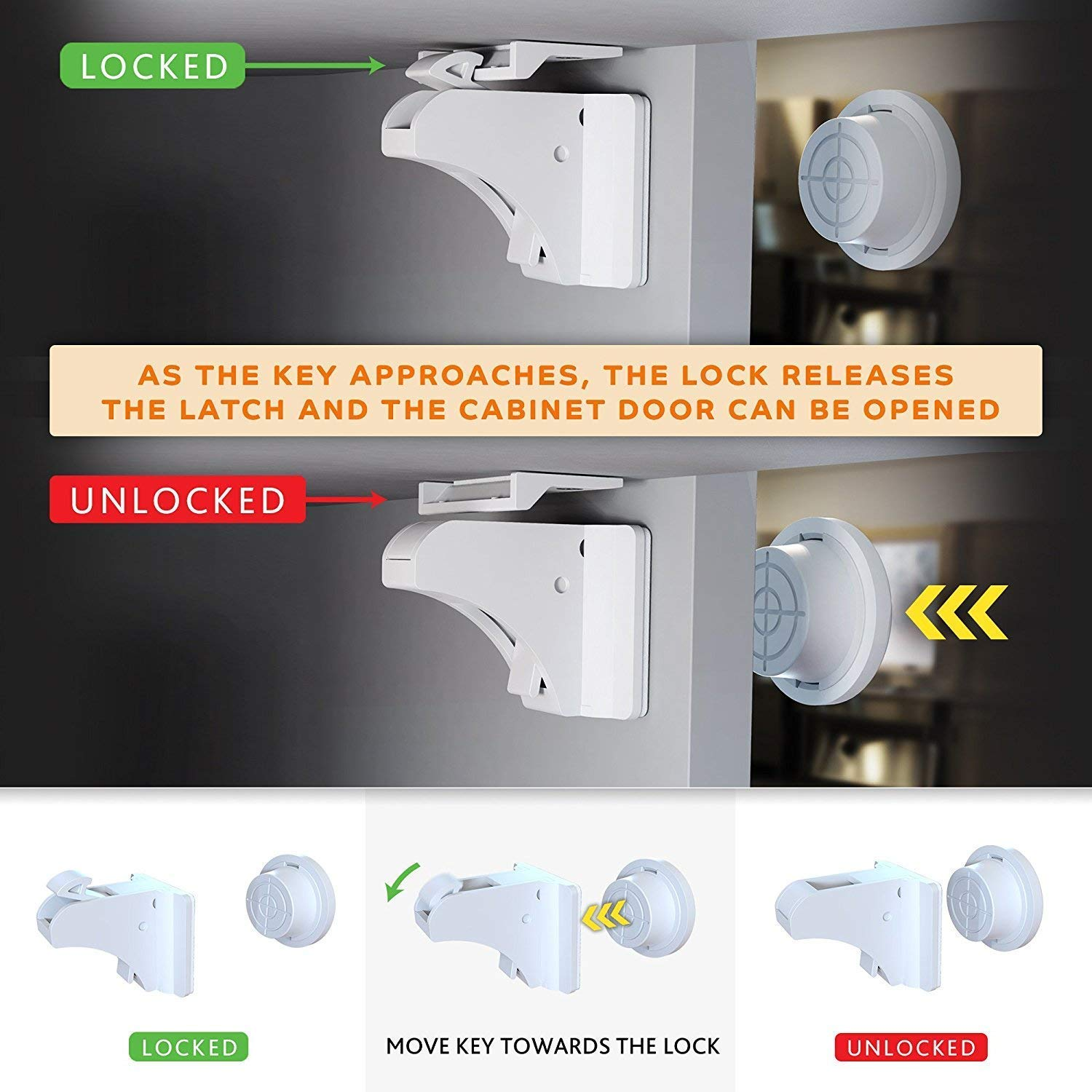 TOOLIC Magnetic Child Safety Locks Kits for Cabinet Drawer Cupboard Door Baby Proof Invisible No Drilling Design (3 Keys & 20 Locks) by TOOLIC (Image #4)