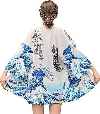 DOVWOER Kimono para mujer, cárdigan de verano, para la playa, con mangas de 3/4, informal, chaqueta ligera