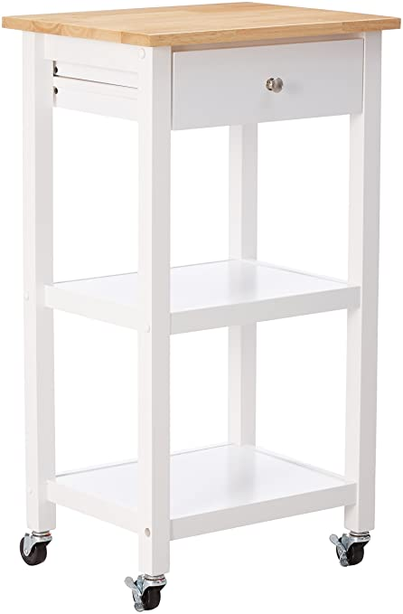 Amazon.com - Roundhill Furniture Wood Kitchen Cart on Wheels, White ...