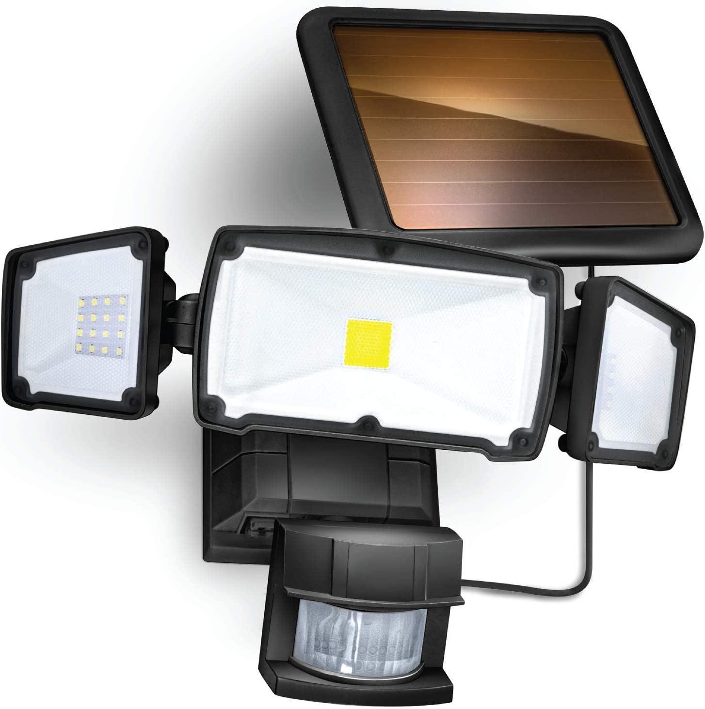 Home Zone Security Solar Motion Sensor Light - Outdoor Weatherproof Triple Head LED Security Flood Light, Black
