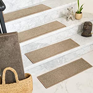 "Natural Area Rugs Malvern, Polypropylene Brown, Handmade Stair Treads Carpet Set of 13 (9"" x 29"")"