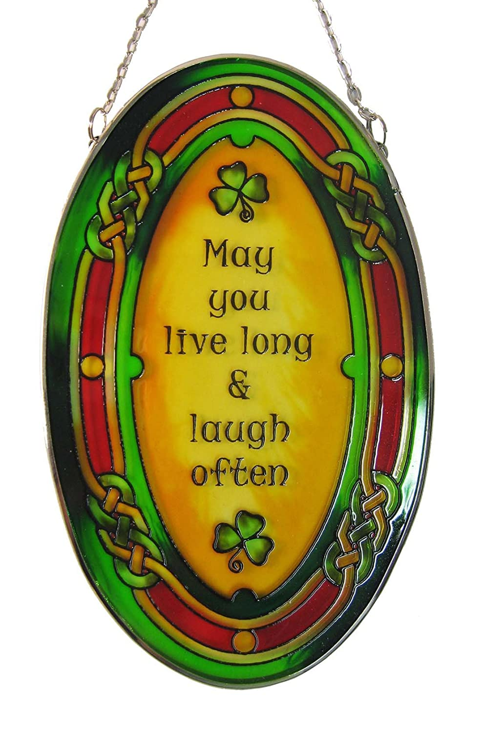 Stained Glass Hanging Decoration with May you live... Design