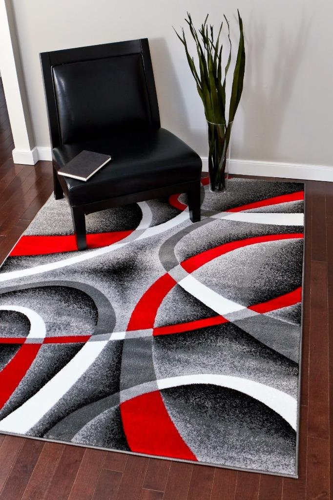 2305 Gray Black Red White Swirls 5 2 X 7 2 Modern Abstract Area Rug