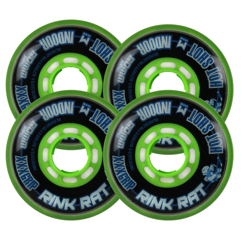 RINK RAT Wheels 80mm 76a HOTSHOT XXX 4-Pack Black/Green Inline Indoor Hockey