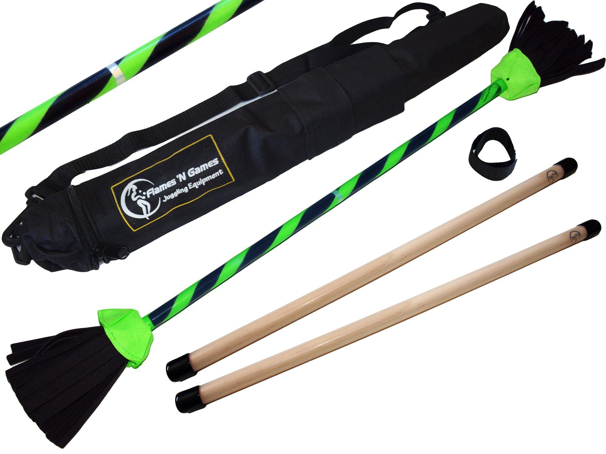 Flames N Games FLASH Flowerstick Set (UV Grip Deco) Silicone WOODEN Handsticks! Ultra Strong Fibreglass core + Travel Bag! Ideal For Beginners & Pros! (Green)