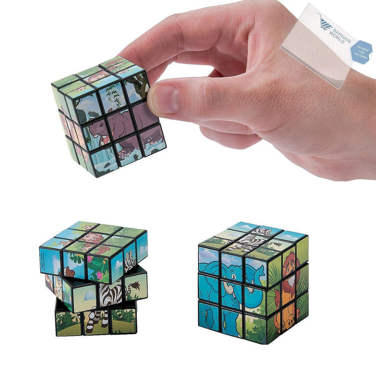 Bargain World Zoo Animal Mini Magic Cubes (With Sticky Notes)