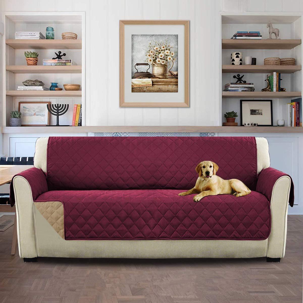 HONCENMAX Funda Cubre Sofá - Protector para Sofás Acolchado - Anti-Sucio para Mascotas Protector de Sofá Muebles - 3 Plazas (110X 75)