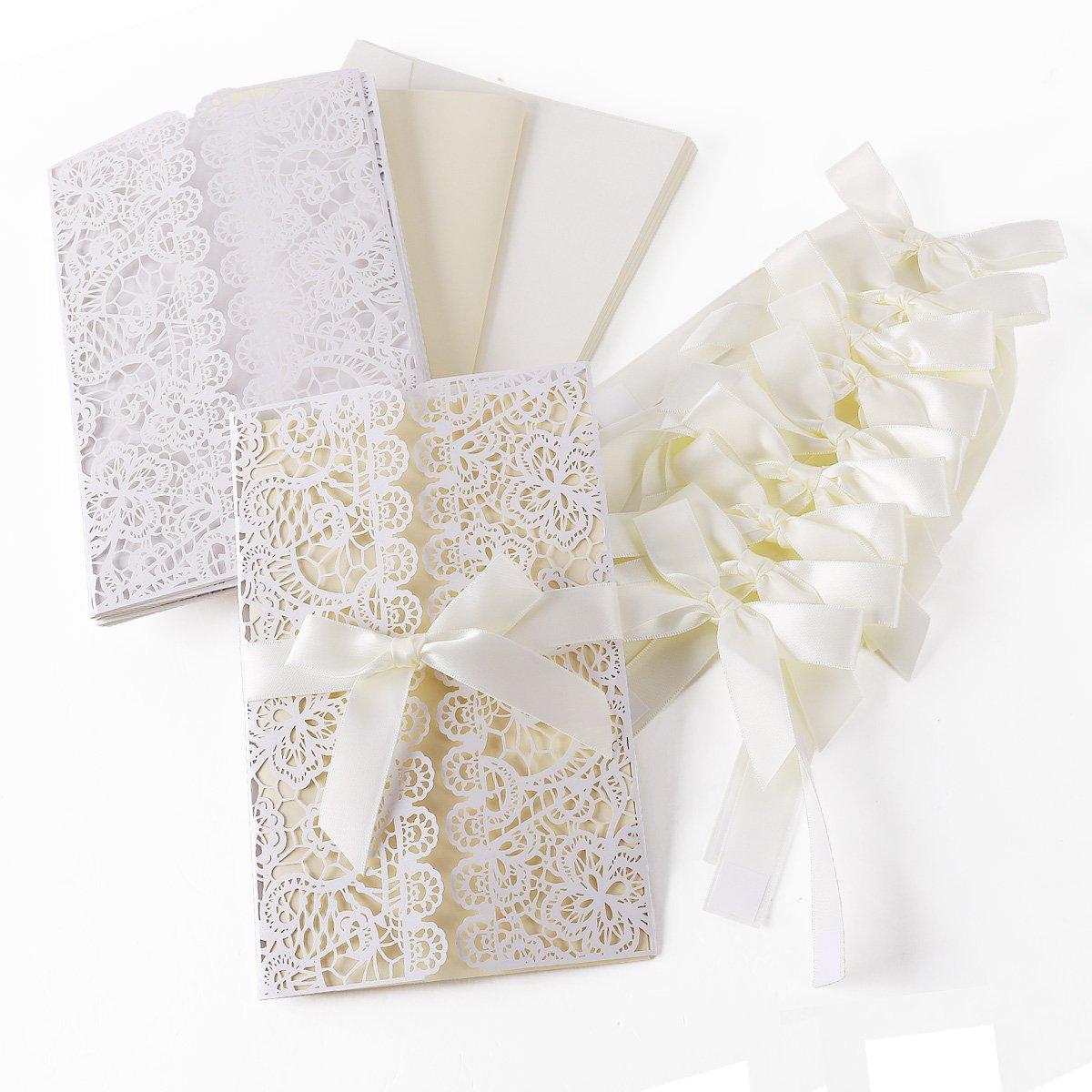 10er Einladungskarten Elegante Blume Spitze Design Set Mit Karten,  Umschläge, Einlegeblätter Zum Selbstbedrucken + Schleife Hochzeit  Geburtstag Taufe Party ...