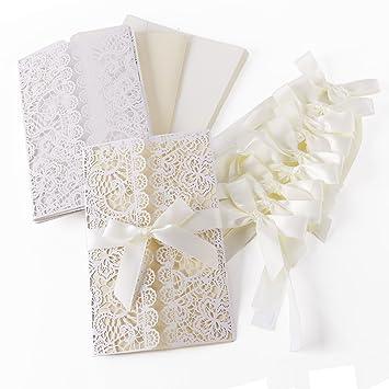 10er Einladungskarten Elegante Blume Spitze Design Set Mit Karten,  Umschläge, Einlegeblätter Zum Selbstbedrucken +