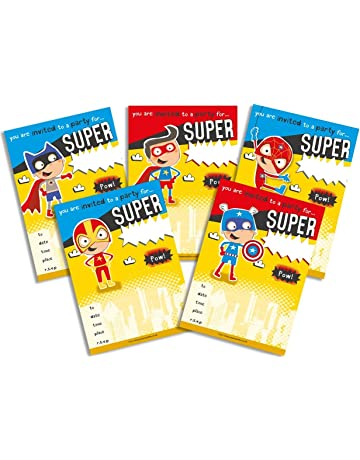 Premium Quality 30 Childrens Birthday Party Invitations Yellow SuperHero Mix Pack Boys Girls Kids