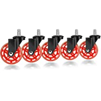 Slipstick CB692 Floor Protecting Rubber Office Chair Caster Wheels (Set of 5), Black/Red