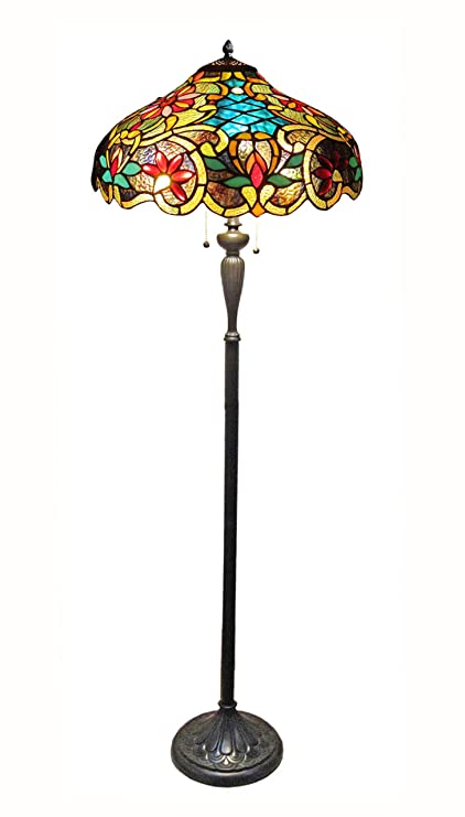 Chloe lighting ch1a674vb18 fl2 leslie tiffany style victorian 2 chloe lighting ch1a674vb18 fl2 leslie tiffany style victorian 2 light floor lamp 18 aloadofball Image collections