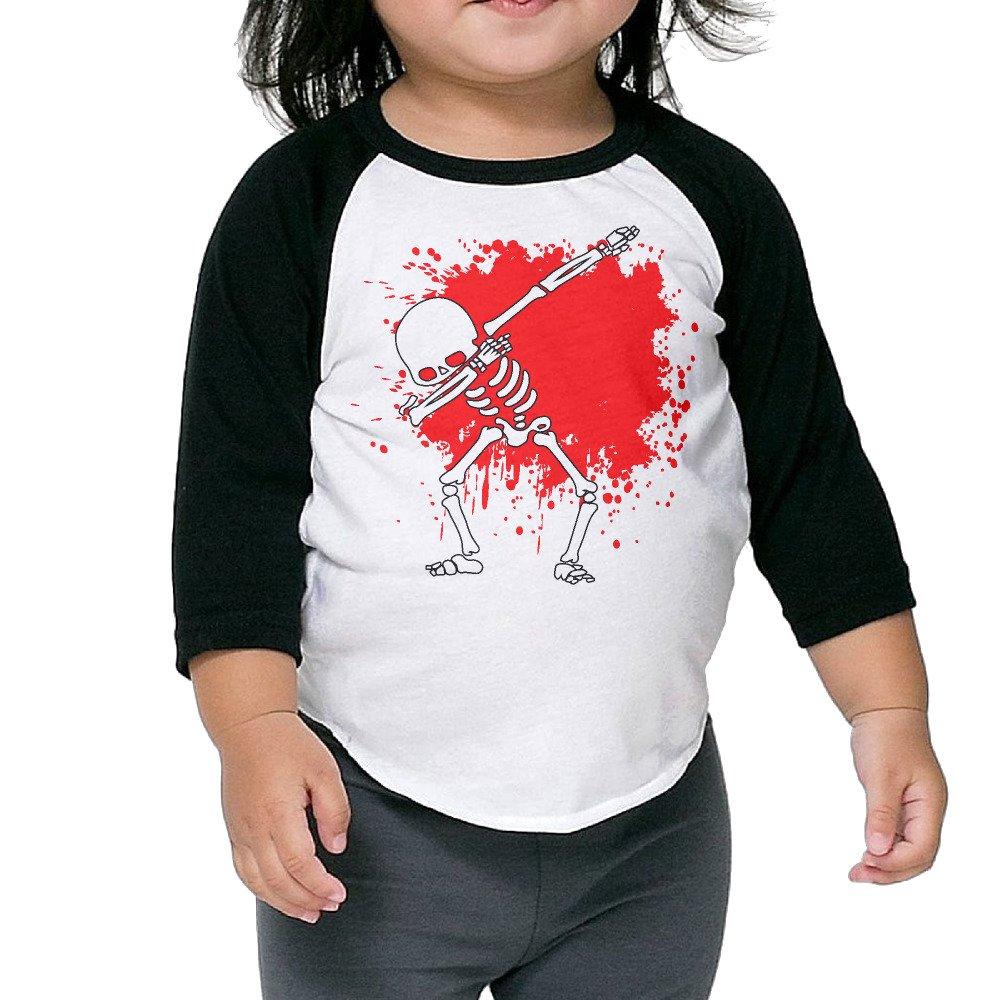 Dabbing Skeleton Dab Hip Hop Skull Dabbin Unisex Kids 3//4 Sleeves Raglan T Shirts Child Youth Slim Fit Sports Uniforms
