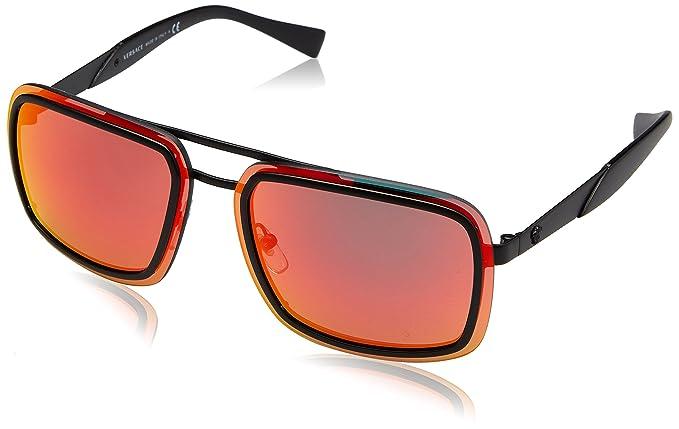 96e475df3011e Image Unavailable. Image not available for. Colour  Versace Men s Mirrored  VE2183-12616Q-63 Black Rectangle Sunglasses