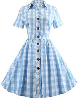 9f322c3f2ba Women s 1950s Vintage Cap Sleeve V Neck Plaid Swing Dress with Pockets