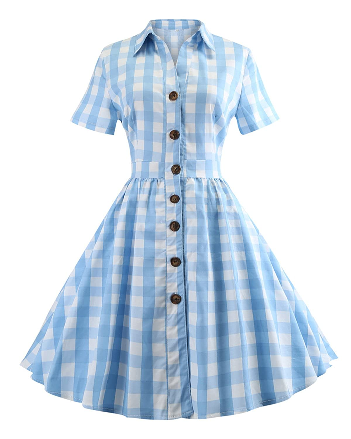 1950s House Dresses and Aprons History Womens 1950s Vintage Cap Sleeve V Neck Plaid Swing Dress with Pockets $23.99 AT vintagedancer.com