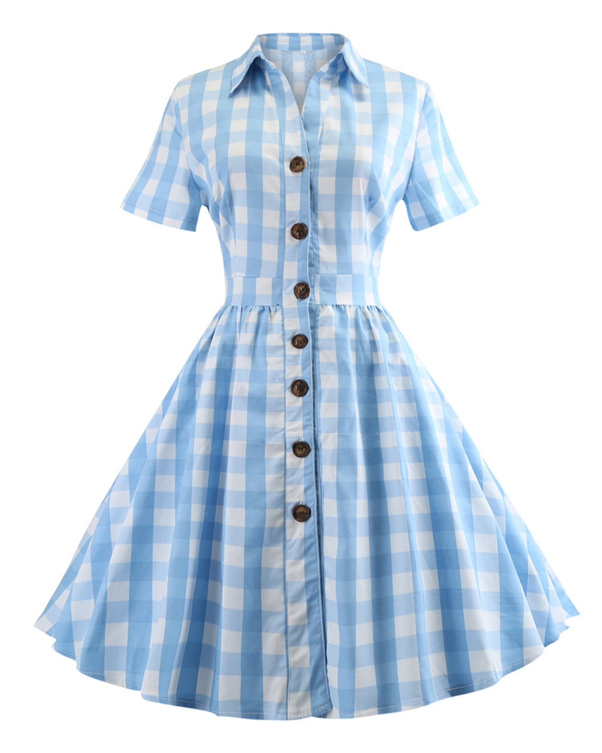 ZAFUL Women's 1950s Vintage Cap Sleeve V Neck Plaid Swing Dress with Pockets(Blue Checkered with Button,3XL)