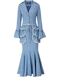 Women 3pcs Set Vintage Victorian Costume Edwardian Suit Coat+Skirt+Apron