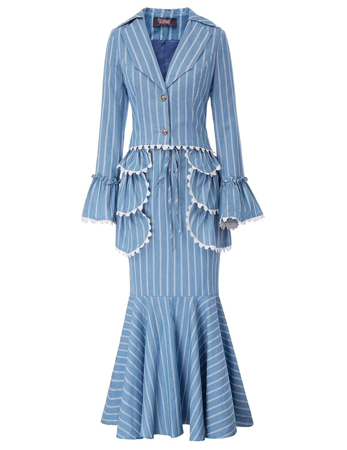 Edwardian Ladies Clothing – 1900, 1910s, Titanic Era Women 3pcs Set Vintage Victorian Costume Edwardian Suit Coat+Skirt+Apron $59.99 AT vintagedancer.com