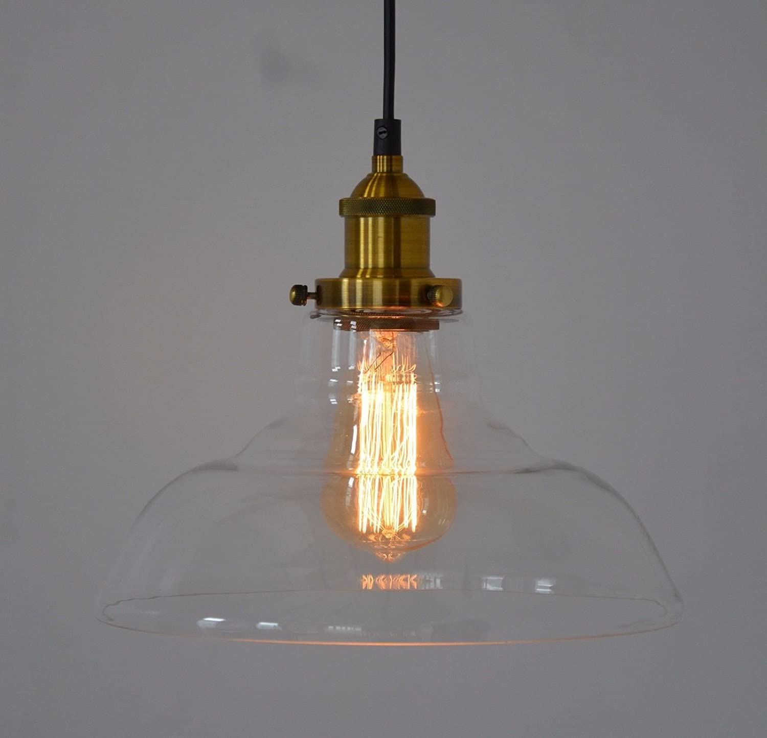 Bronze Cap Brown Glass Pendant Light Ceiling Lamp Loft Shape Shade Chandelier