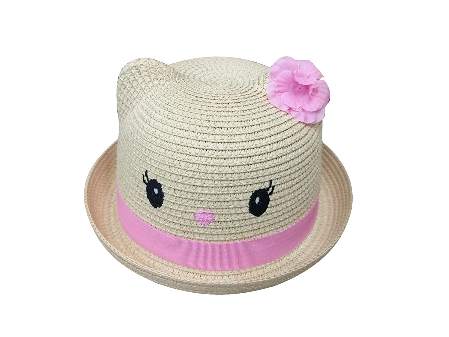 ACVIP Little Girls Straw Roll Up Sun Hat with Cat Ears