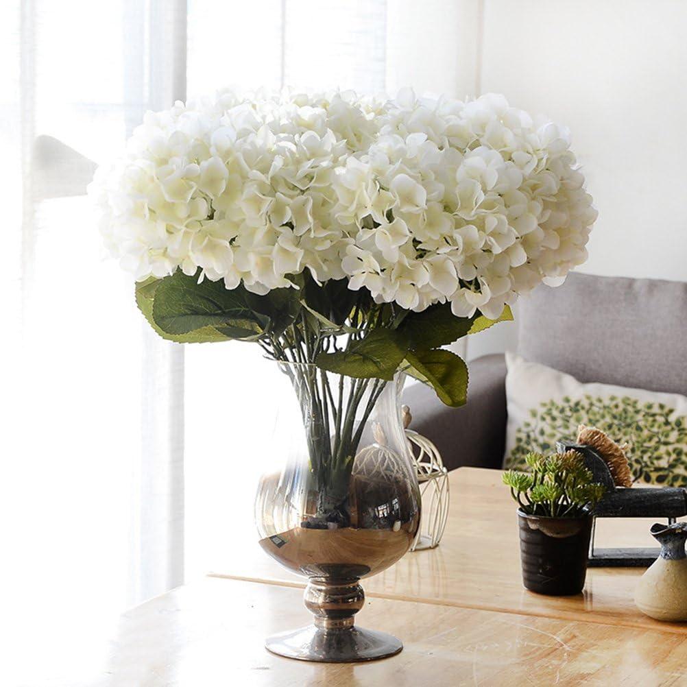 Youngman 5 Heads Hydrangea Beautiful Artificial Flower Bunch Bouquet Home Wedding Decor (White)