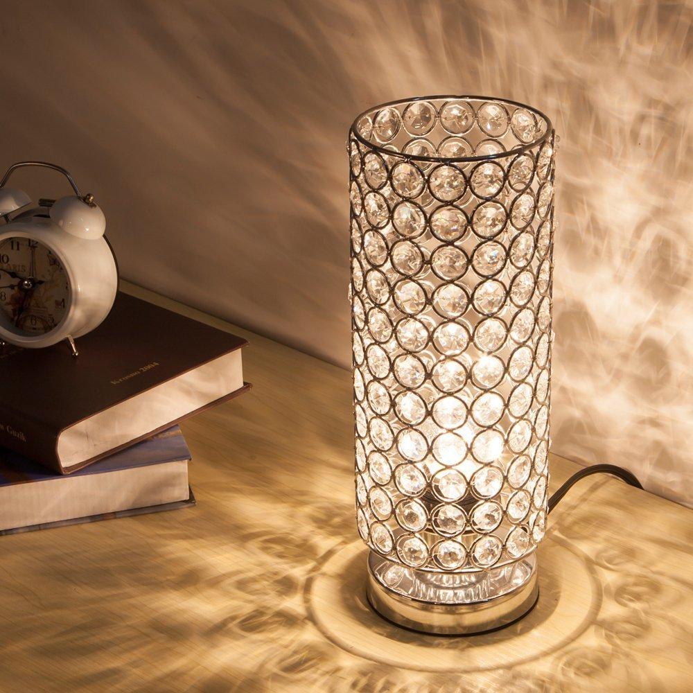 ZEEFO Kristall Tischlampe, klassische dekorative Nachttischlampe mit ...