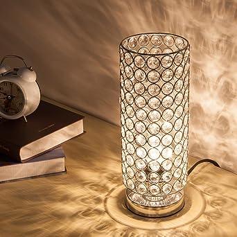 ZEEFO Kristall Tischlampe Klassische Dekorative Nachttischlampe Mit Silbernem Lampenschirm Feste Tischleuchte Fur Wohnzimmer