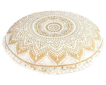 Amazon.com: Mandala puf carcasa Hippie cojín de piso rosa ...
