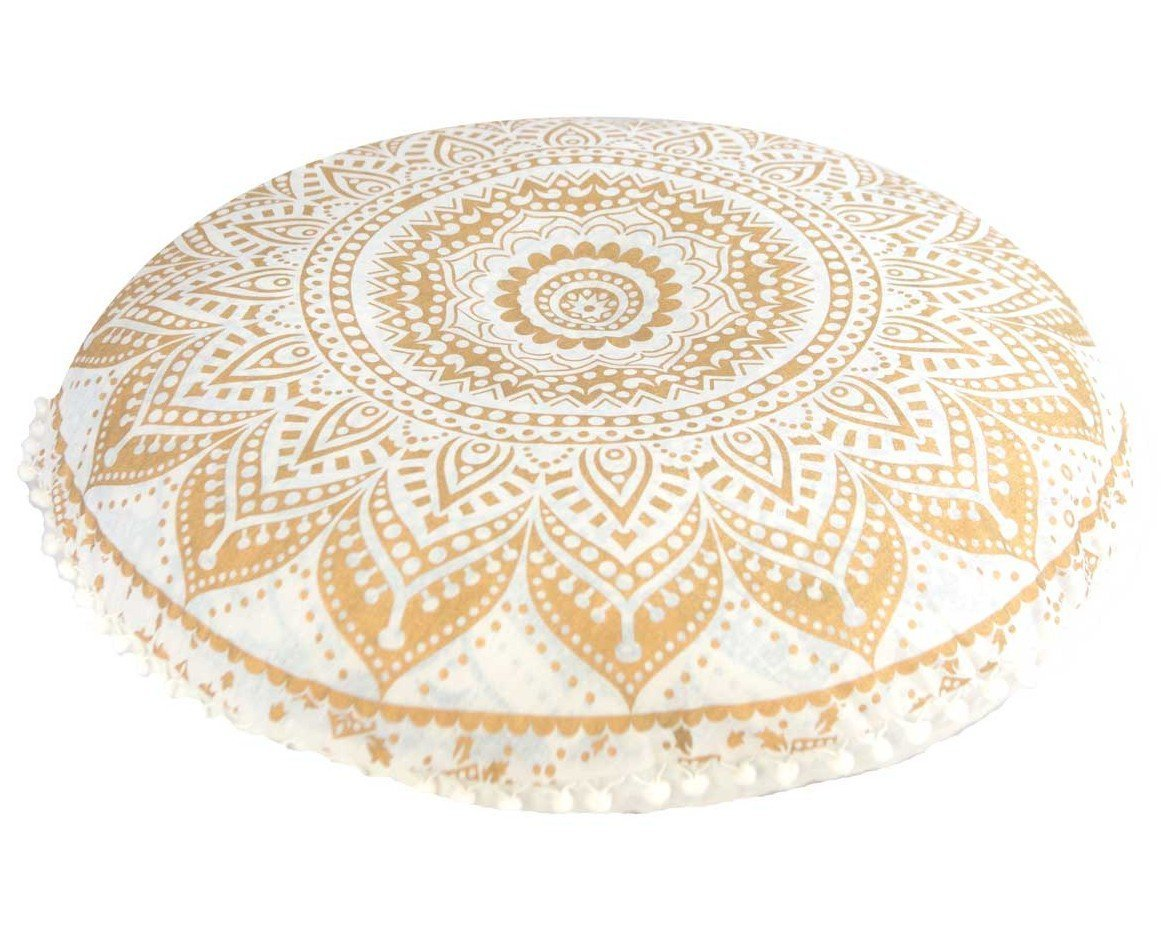 DARJII Golden Floor Cushion Cover Gold Mandala Throw Bohemian Pillow Case 32 Inches Round Pouf Cover Boho Bedding Home Décor Hippy Decoration Indian Seating Pouffe