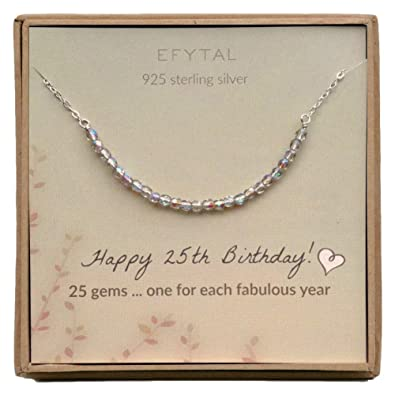 EFYTAL 25th Birthday Gifts For Women Sterling Silver Necklace 25 Beads Year