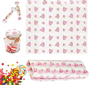 100 Pcs Wax Paper Sheets Deli Wraps, Greaseproof Waterproof Food Wrapping Paper for Food Basket Baking, Cooking, Frying, Nougat Candy, Rice Candy( Pink Rose)