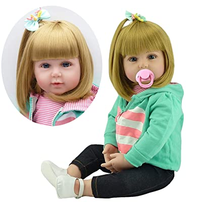 Pedolltree Reborn Baby Dolls Girls Cute Newborn Silicone Baby Reborn Toddlers Doll 24inch Llifelike Realistic Dolls with Blonede Hair Children Gift: Toys & Games