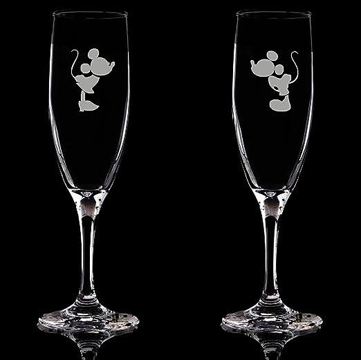 Copas de flauta Mickey Mouse Minnie Mouse, juego de 2 copas grabadas, copa de champán, copa de prosecco, tostada de boda, regalo único: Amazon.es: Hogar